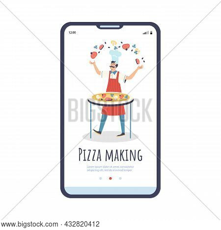 Pizza Making Onboarding Page Template With Cook, Flat Vector Illustration.