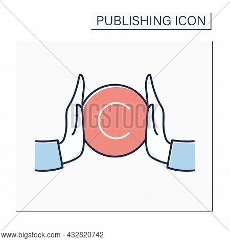 Copyright Color Icon. Copyright Law. Intellectual Property. Author Rights On Products. Authorship. P