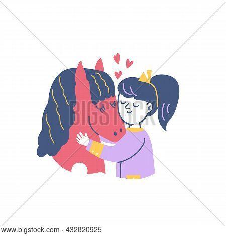 Child Girl Hugging Horse, Flat Cartoon Vector Illustration Isolated On White.