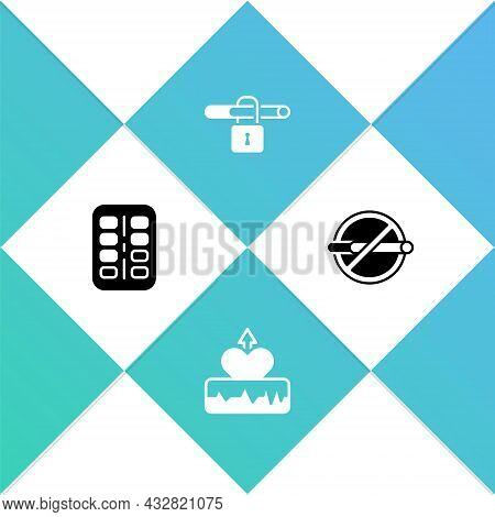 Set Nicotine Gum In Blister Pack, Heartbeat Increase, No Smoking And Icon. Vector
