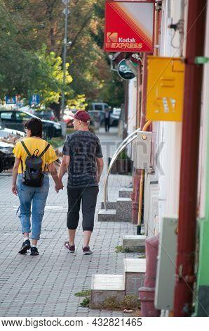 Bisttrita, Romania - Septamber 01, 2018: People Walking On The Street. Real People.
