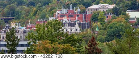 Small City Industry In The Forest Sherbrooke Quebec Panoramic View Eastern Township Estrie Village A