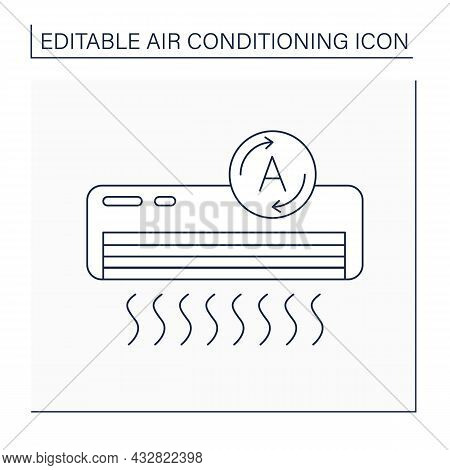 Conditioner Line Icon. Automatic Mode. Machine Automatically Set Temperature And Fan Speed. Air Cond