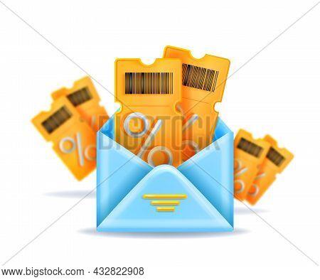 3d Discount Coupon Vector Illustration, Yellow Event Ticket Bonus Voucher, Blue Open Envelope, Perce