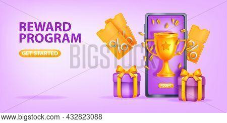 Online Reward Bonus Vector Background, Loyalty Program Referral Gift 3d Banner, Smartphone Screen. D