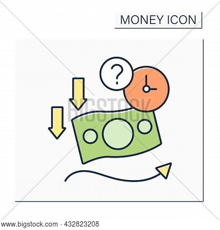 Soft Currency Color Icon. Valuta Which Value Fluctuates. Lower Relative To Other Currencies. Money C