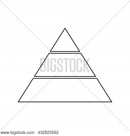 Pyramid Line Icon For Infographics. Triangle Outline With 3 Levels. Hierarchy Design Graphic Element