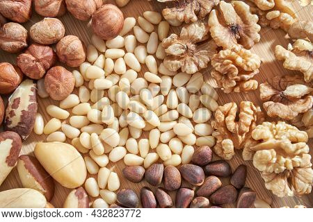 Many Different Nuts. Assortment Healthy Snacks. Mediterranean Diet. Dry Vegan Charcuterie. Variety P