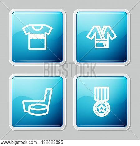 Set Line T-shirt With Fight Club Mma, Japanese Costume Kimono, Ice Hockey Stick And Puck And Medal I