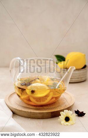 Delicious Fresh Warm Tea With Lemon, Orange Fruit, Cinnamo And Fresh Mint. Herbal Healthy Beverage I