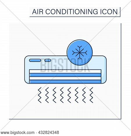 Cool Mode Color Icon. Default Mode. Conditioner Circulates Hot Air In Cold. Air Conditioning Concept
