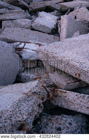 Broken Concrete Slabs After Construction. Broken Concrete.