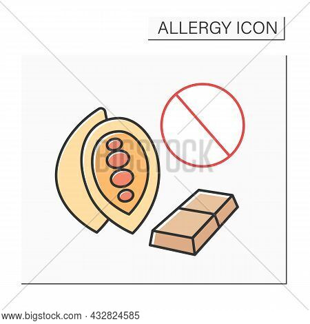 Allergy To Food Color Icon. Allergic Reaction To Chocolate And Chocolate-related Products.healthcare