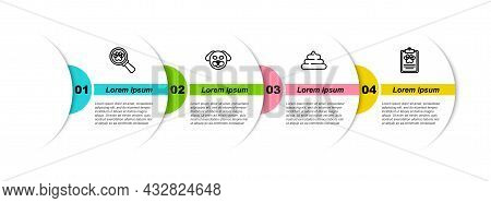 Set Line Veterinary Clinic, Dog, Shit And Clinical Record Pet. Business Infographic Template. Vector