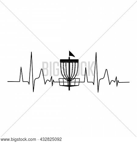 Disc Golf Basket Icon With Heartbeat. Vector Illustration Isolated On Whitebackground
