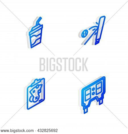 Set Isometric Line Baseball Bat With Ball, Paper Glass Water, Planning Strategy And Mechanical Score