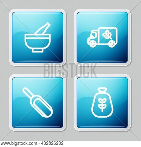Set Line Mortar And Pestle, Flour Truck, Scoop Flour And Bag Of Icon. Vector