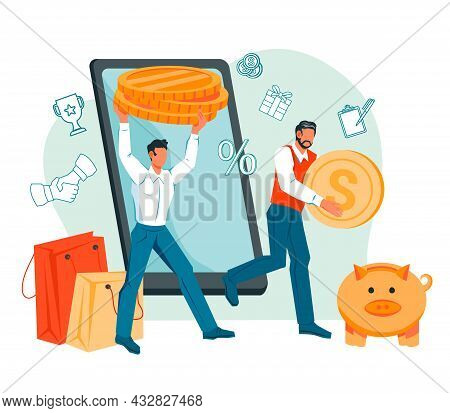 Saving Money, Online Banking, Money Transaction Financial Services Or Investments Concept. People Ca