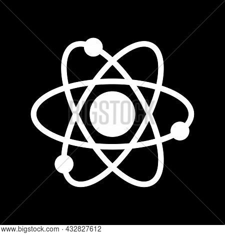Atom Electrons Icon Isolated On Black Background. Atom Electrons Icon Modern Symbol For Graphic And