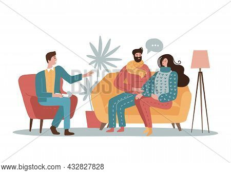 Young Family Couple Characters Talking To Male Psychologist About Their Problems. Concept Of Psychot