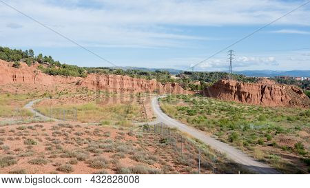 Walking Path Crossing Clay Park At Teruel City, Aragon, Spain, Europe