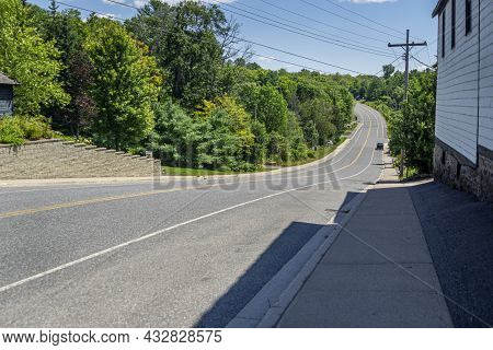 Highway Through The Township Of Rosseau In The District Of Parrysound , Ontario, Canada