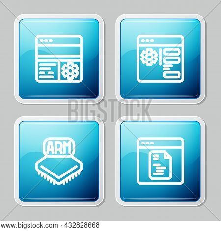 Set Line Debugging, Browser Setting, Processor And Software Icon. Vector