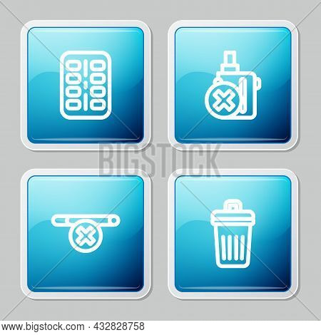 Set Line Nicotine Gum In Blister Pack, No Electronic Cigarette, Smoking And Trash Can Icon. Vector