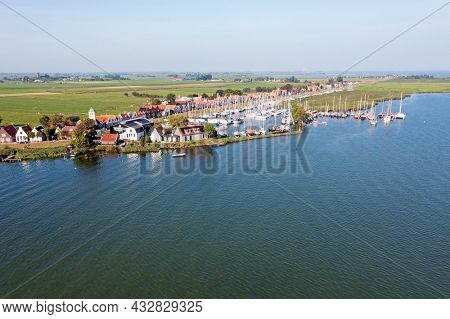 Aerial from the traditional village Durgerdam in the Netherlands on a beautiful summer day