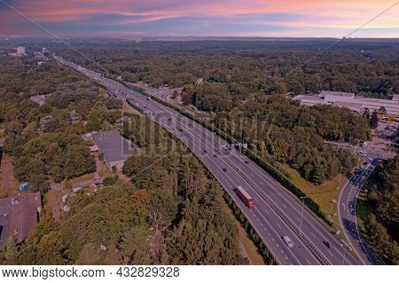 Aerial from the highway A1 near Amsterdam in the Netherlands