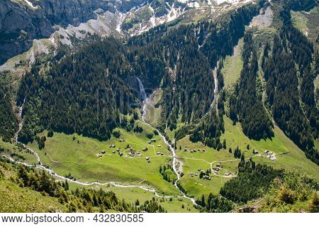 Klausenpass - mountain road connecting cantons Uri and Glarus in swiss alps