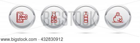 Set Line Fitness App, Vitamins, Punching Bag And Broken Weight. Silver Circle Button. Vector