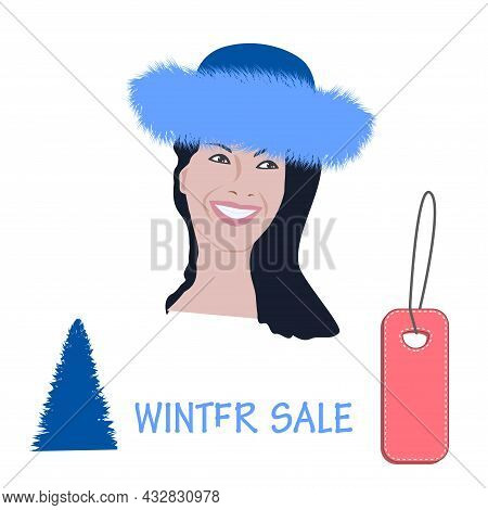 Charming Woman's Face In Winter Fur Hat - Sale, Winter Sale, The Label - Vector. Beauty Fashion. Art