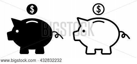 Piggy Bank Icons With Falling Coins. Pig Silhouette. Vector Illustration Isolated On White Backgroun
