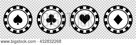 Poker Chips Black Icons Set. Poker Symbols With Spades, Hearts, Diamonds, Clubs. Vector Illustration