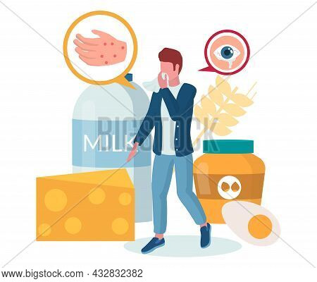 Food Allergy. Man Suffering From Hives, Itching Red Rash, Eczema, Watery Eyes, Vector Illustration.