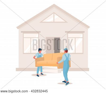 Two Movers Carrying Sofa To New House, Vector Illustration. Relocation. Moving Company Service. Furn