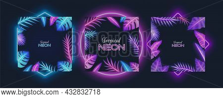 Purple Neon Frame Set With Tropical Plants, Palm Tree Leaves. Tropic Exotic Jungle Floral Borders, V