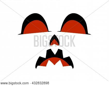 Scary Face Isolated On White Background. Spooky Halloween Face With Evil Scary Eyes. Design For Post