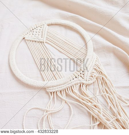 Handmade Cotton Macrame Dream Catcher During Fabrication. Traditional Amulet For Protecting Sleep. C