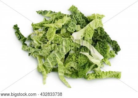 Chopped Savoy Cabbage Isolated On White Background With Clipping Path And Full Depth Of Field. Top V