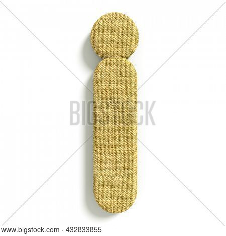 hessian letter J - Lower-case 3d jute font isolated on white background. This alphabet is perfect for creative illustrations related but not limited to fabric, design, decoration...