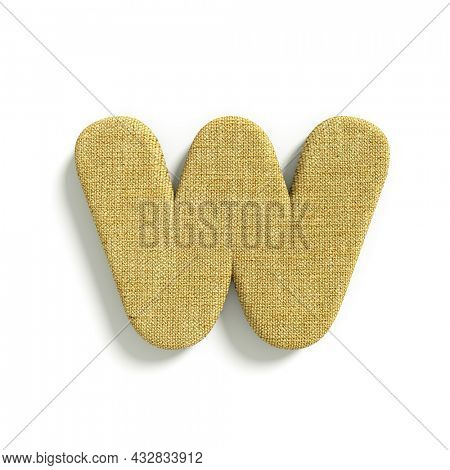 hessian letter W - Lower-case 3d jute font isolated on white background. This alphabet is perfect for creative illustrations related but not limited to fabric, design, decoration...
