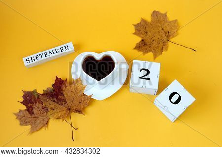Calendar For September 20 : The Name Of The Month In English, Cubes With The Number 20,a White Heart