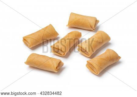 Sumpia cookies, a traditional Indonesian snack close up isolated on white background