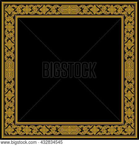 Golden Thai Art Pattern Frame Square Shape. Retro Antique Style. Traditional Vintage Ornament. Decor