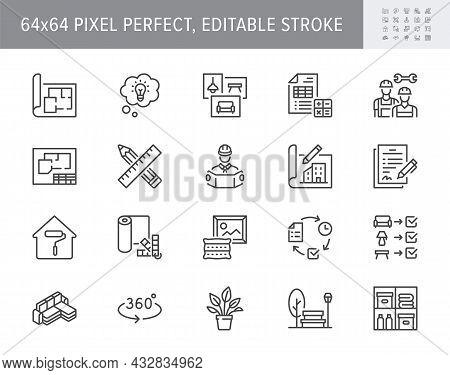 Interior Design Line Icons. Vector Illustration Include Icon - Architecture, Blueprint, Project Calc