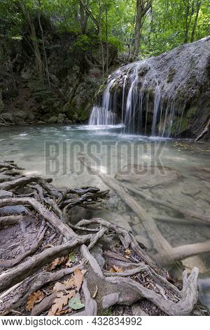 Runoff Of The Ulu-uzen River In The Khapkhal Gorge Of The Natural Park. Crimea, Russia, August 15, 2