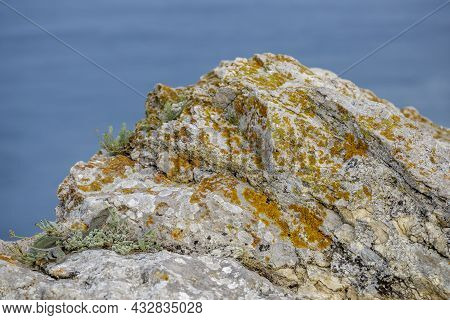 Steep Rocky Embankment Of The Black Sea. Landscape Of Mountains And Sea. Blue Smooth Surface Of The