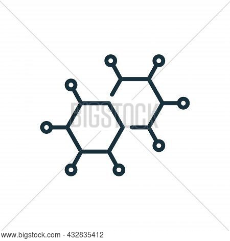 Structure Network Molecular Line Icon. Atom Connect Structure Linear Pictogram. Shape Molecule Hydro